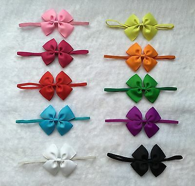 10 Pcs  Baby Toddler Girls grosgrain ribbon hair bow Elastic headband hairband