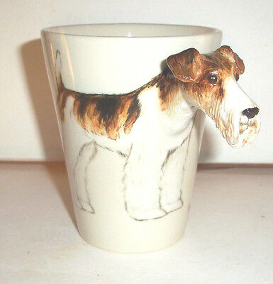 Blue Witch 3D - wire fox terrier dog  Ceramic Hand Crafted Coffee Mug