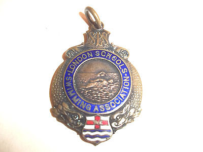 1932 London Schools Swimming Association Vintage Enamelled Fob Medal