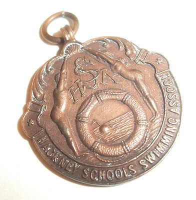 1932 Hackney Schools Swimming Association Vintage Fob Medal