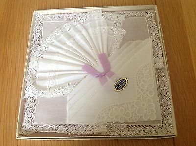 Vintage Three Nottingham Lace Trimmed Handkerchiefs Gift Boxed New