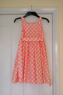 Monsoon Peach Spotted Dress, girls aged 7yrs old
