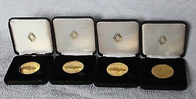4 x Renault UK Dealership Launch Date Gold Plated Medals / Medallions / Coins