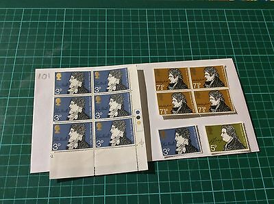 Great Britain-Literature Mint Stamp Blocks 1971-Authors-Writers-Poetry (101)
