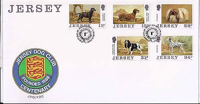 1988 Jersey Complete set Dogs on Stamps  FDI cover (1104)