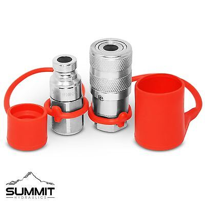 "1/4"" NPT Flat Face Hydraulic Quick Connect Coupler / Coupling & Plug Set"