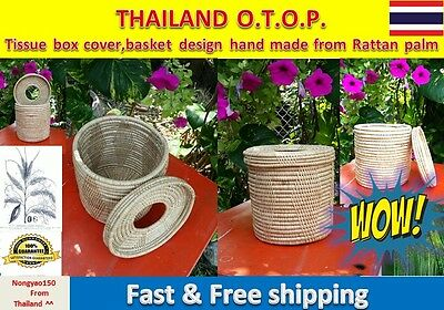 Real Tissue box cover,basket design hand made from Rattan palm Thailand OTOP