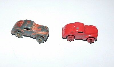 Vintage Miniature Lead Red Cars With Moving Wheels~Set Of 2
