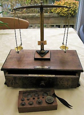 Antique Apothecary Scales Oertling Maw Son Drawer Base + Weights