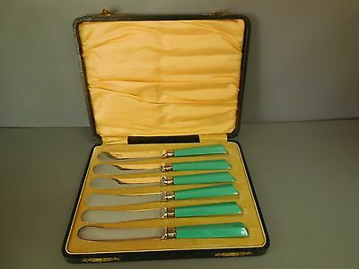 Lovely Set of 6 Vintage Stamped Stainless Steel Butter Knives with Green Handles