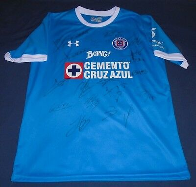 2017 Cruz Azul Team Squad hand signed autographed jersey Mexico Authentic COA