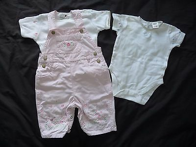 Girls dungarees & tops, age 3-6 months