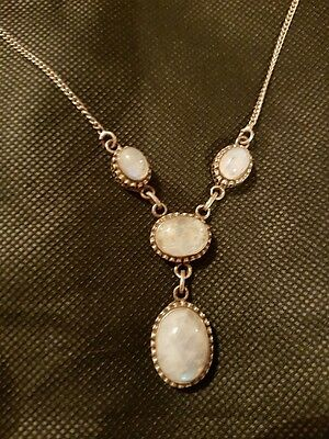 Antique Silver and Moonstone 3 drop necklace