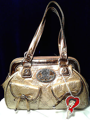 Betty Boop Shoulder Dress Purse-Gold & Bronze-Style #bb99-301-Five Pockets