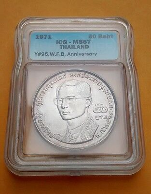 1971 Thailand Silver 50 Baht : Fellowship Of Buddhists (BE2514) : MS67