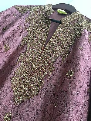 Men's XXL Bergundy Indian Kurta With Elegant Embroidery 44inch