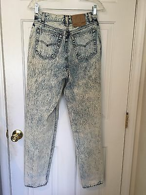 Vtg 80s Womens Levis 501 Acid Wash Jeans Tapered High Waist USA Button Fly 28x31