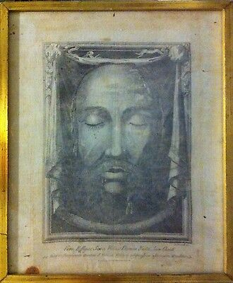 Engraving etching on linen Shroud of Turin face of Christ Sindone Puccinelli 800