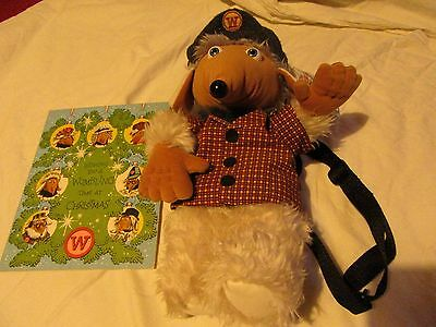THE WOMBLES - BUNGO BACK PACK SOFT TOY + Womble Christmas card + Womble LP, book
