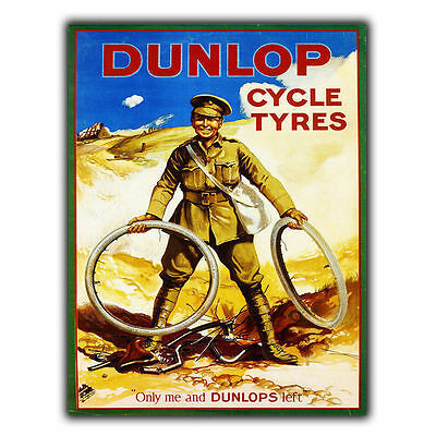 DUNLOP CYCLE TYRES METAL SIGN WALL PLAQUE Vintage Wartime Advert art print