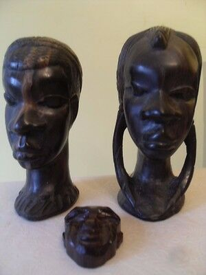 """2 Carved 7"""" African Wooden Head Sculptures plus Smaller Face Tribal Art"""