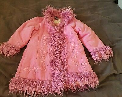 Girls lined faux fur and suede coat. 3 years