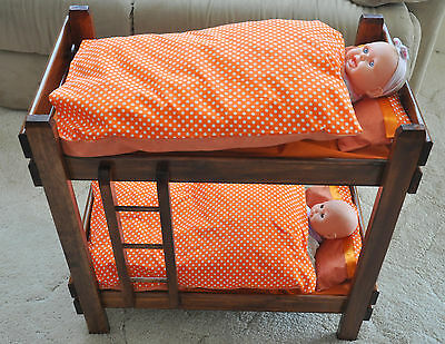 Dolls Timber Bunk Beds with Ladder and Linen - New