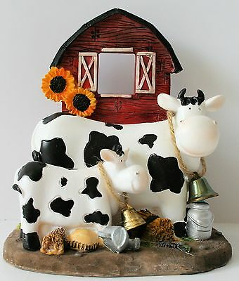 Comical Country COWS  by Red Barn Figurine Statue Farm barnyard Scene NEW