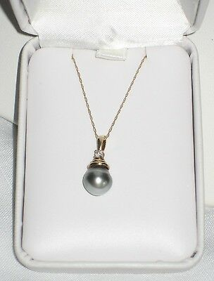 10k Yellow Gold Tahitian Platinum Pearl ~  Diamond Accent Drop Necklace