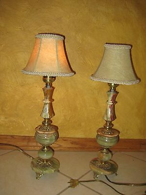 Pair Of Green Caramel Onyx Lamps Nightstand Lamps