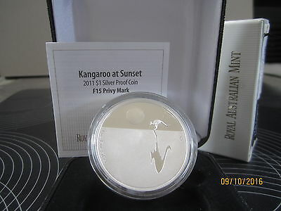"""F15 Privy Mark """" Kangaroo At Sunset"""" 2011 $1 Silver Proof Coin"""