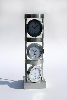 Aluminium Desk Table Clock Home Office Decor Shows Different Times in the World