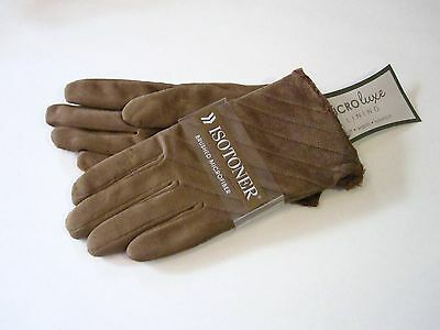 New Retail $30 Isotoner Size XL Brown Brushed Microluxe Suede Gloves