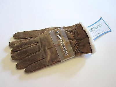 New Retail $38 Size XL Isotoner Gloves Luggage Brown Sherpa Lined