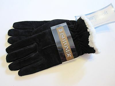 New Retail $38 Size XL Isotoner Gloves Black Sherpa Lined