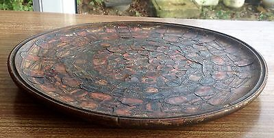 Vintage Wooden Bowl/dish/Wall Mount With Unusual Leather Detail