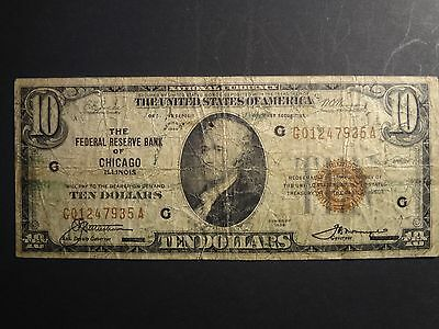 1929 $10. Chicago Brown Seal Note