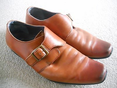 Mens Clarks Shoes Size 8 Brown Tan Leather Buckle Fastening