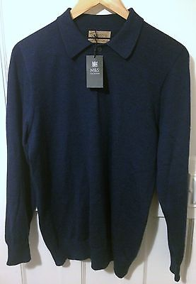 NEW M&S polo top, size is Medium, blue, italian merino wool with silk