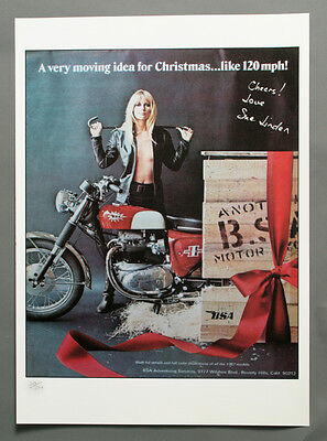 BSA  Classic motorcycle  Ad Poster 'Out of the Box' 1960's hand signed by Model
