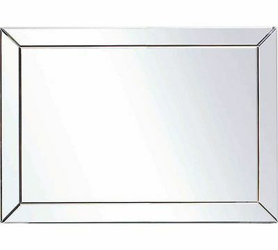 The Collection Stylish Large Glass Bevelled Wall Mirror 105cm x 74cm