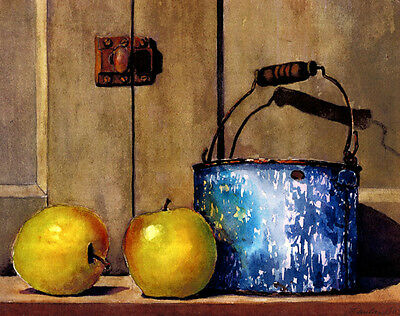 Yellow Apples Blue Swirlware Signed Giclee Art Print of watercolor painting 10x8