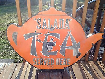 XXX RARE 1920's DOUBLE SIDED SALADA TEA CUP PORCELAIN SIGN SERVED HERE STORE