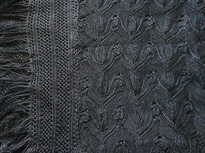 """LACE SHAWL ANTIQUE VICTORIAN BLACK MOURNING 36"""" Square W/ Hand Knotted Fringe"""