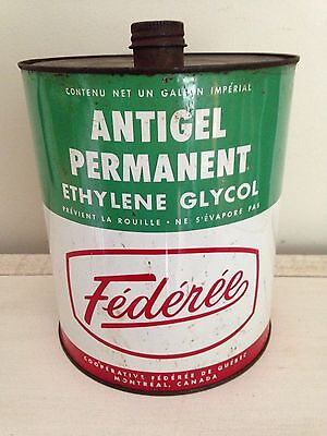 Rare Federee Antifreeze Tin Can, Montreal Motor Oil Gas Pump Sign Garage Canada
