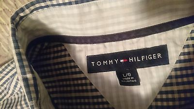 Men's Tommy Hilfiger Shirt ,Blue And White, Size L