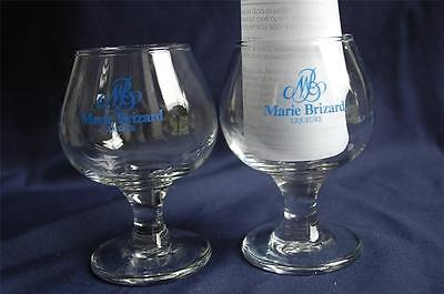"""2 Marie Brizard Liqueurs STEMMED Clear Snifter Style Glasses 4 1/4"""" Tall Nice"""