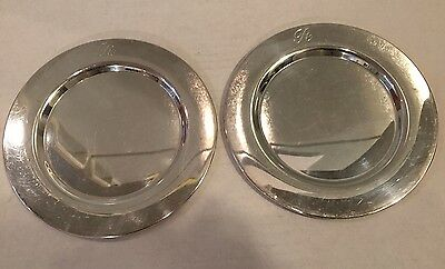 """Bread/Butter Dish Silver Plated 6"""" Wm A ROGERS Dish Small Charger, Lot of 2, """"R"""""""