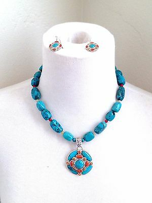 BARSE Turquoise Beads Sterling Silver 925 Pendant Necklace Hook Earrings Set P