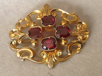 WOW VICTORIAN ANTIQUE VINTAGE ANTIQUE 18ct GOLD GARNETS BROOCH PIN